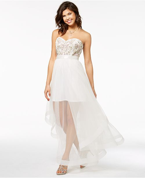 da98bfd40 ... Say Yes to the Prom Juniors' Embellished Strapless Gown, Created for  Macy's ...