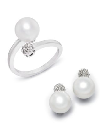 Cultured Freshwater Pearl (8mm) & Diamond Accent Bypass Ring in 14k White Gold