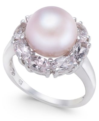 Pink Cultured Freshwater Pearl (10mm) & Morganite (2 ct. t.w.) Ring in Sterling Silver