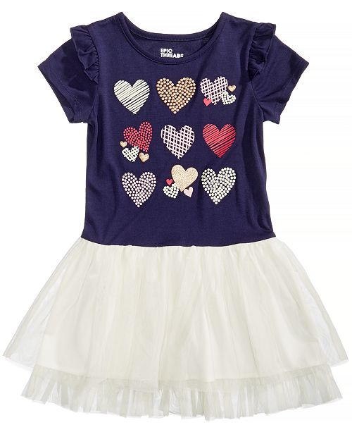 Epic Threads Hearts Graphic-Print Popover Dress, Little Girls, Created for Macy's