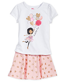 Epic Threads Birthday Graphic-Print T-Shirt & Printed Skirt Separates, Toddler & Little Girls, Created for Macy's