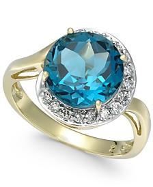 Blue Topaz (4-3/4 ct. t.w.) & Diamond (1/6 ct. t.w.) Ring in 14k Gold
