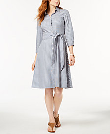 Tommy Hilfiger Cotton Striped Shirtdress, Created for Macy's