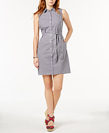 Tommy Hilfiger Gingham Cotton Shirtdress, Created for Macy's