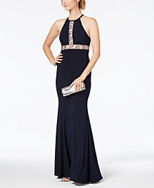 Xscape Embellished Cutout Halter Gown
