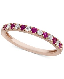 Certified Ruby (1/4 ct. t.w.) & Diamond (1/6 ct. t.w.) Band in 14k Rose Gold