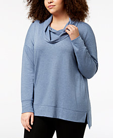 Ideology Plus Size Cowl-Neck Top, Created for Macy's