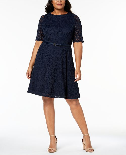 Charter Club Plus Size Belted Lace A-Line Dress, Created for Macy\'s ...