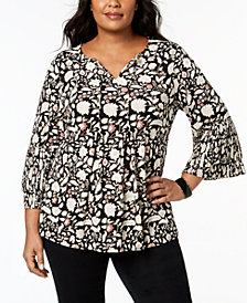 Charter Club Plus Size Printed Babydoll Tunic, Created for Macy's
