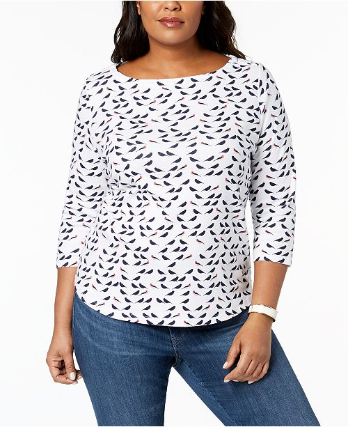 Plus Size Cotton Boat-Neck T-Shirt, Created for Macy's