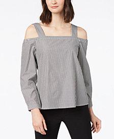 Nine West Cotton Pinstriped Cold-Shoulder Blouse