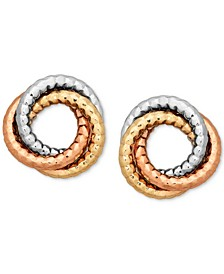 Tri-Color Textured Love Knot Earrings in 14k Gold, White Gold & Rose Gold