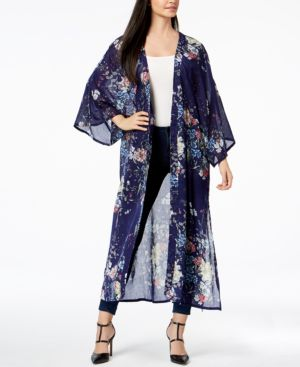 Steve Madden Floral-Print Duster Cover Up 5691441
