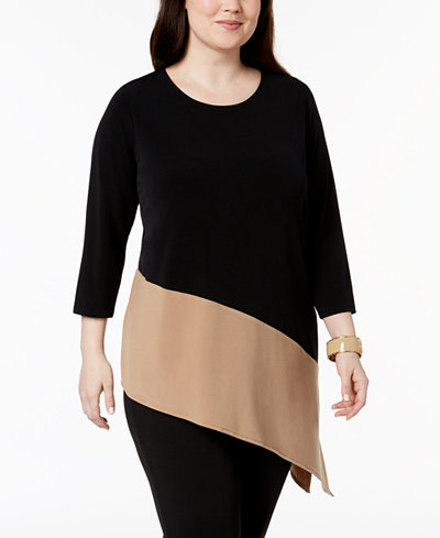 Alfani Plus Size Colorblocked Asymmetrical-Hem Tunic, Created for Macy's