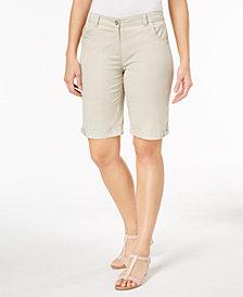 Karen Scott Petite Solid Cotton Shorts, Created for Macy's