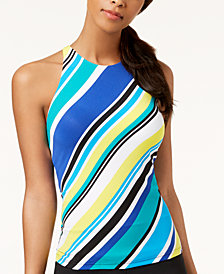Nautica Coastline Stripe High-Neck Tankini Top