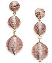 I.N.C. Gold-Tone Pink Metallic Thread-Wrapped Drop Earrings, Created for Macy's