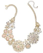 """I.N.C. Gold-Tone Imitation Pearl, Stone & Crystal Flower Collar Necklace, 17"""" + 3"""" extender, Created for Macy's"""