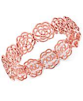 I.N.C. Rose Gold-Tone Rosette Stretch Bracelet, Created for Macy's