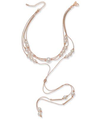INC Rose GoldTone Imitation Pearl MultiStrand Lariat Choker