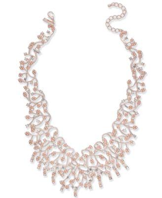 INC Rose GoldTone Pearl Crystal Vine Statement Necklace 16
