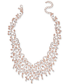 "I.N.C. Rose Gold-Tone Pearl & Crystal Vine Statement Necklace, 16"" + 3"" extender, Created for Macy's"