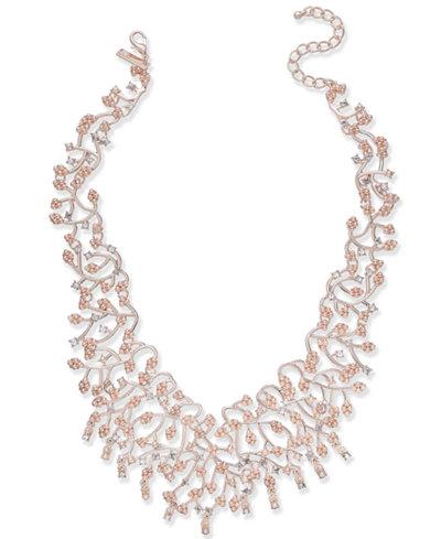 I.N.C. Rose Gold-Tone Pearl & Crystal Vine Statement Necklace, 16