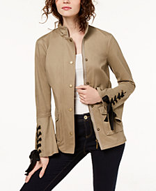 I.N.C. Petite Lace-Up Utility Jacket, Created for Macy's