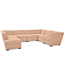 Roxanne II Performance Fabric 7-Pc. Modular Sofa with Bumper Chaise - Custom Colors, Created for Macy's