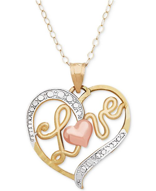 "Macy's TriColor Love Heart 18"" Pendant Necklace in 10k Gold, Rose Gold and White Rhodium-Plate"
