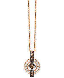 "Le Vian Chocolatier® Deco Estate Collection™ Diamond Circle 18"" Pendant Necklace (1/3 ct. t.w.) in 14k Rose Gold"