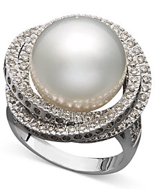 14k White Gold Ring, Cultured South Sea Pearl (13mm) and Diamond (1 ct. t.w.) Ring