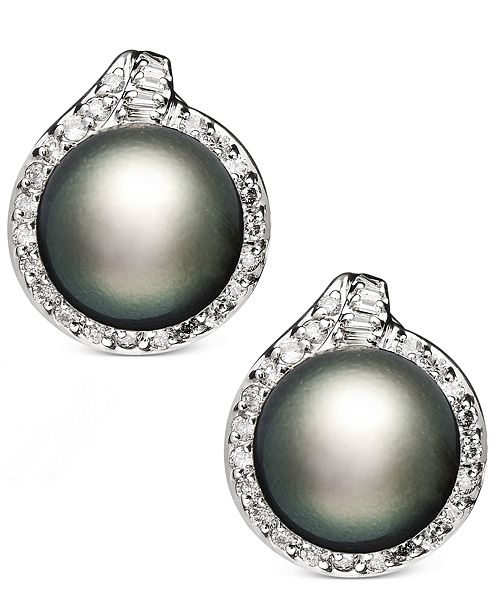 Macy's 14k White Gold Earrings, Cultured Tahitian Pearl (11mm) and Diamond (3/4 ct. t.w.) Stud Earrings