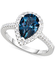 London Blue Topaz (2-1/4 ct. t.w.) & Diamond (1/3 ct. t.w.) Ring in 14k White Gold