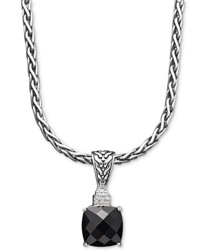 Balissima by EFFY Onyx (5-1/5 ct. t.w.) and Diamond Accent Pendant in Sterling Silver