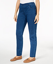 Karen Scott Pull-On Straight-Leg Jeans, Created for Macy's