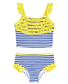 Penelope Mack 2-Pc. Striped Ruffled Bikini Swimsuit, Little Girls