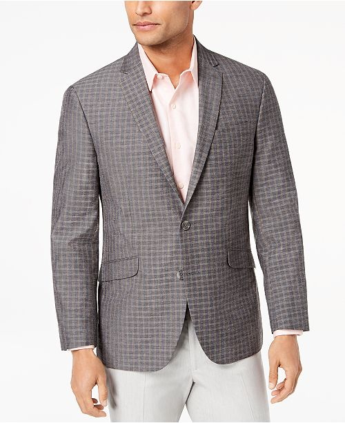 Kenneth Cole Reaction Men's Slim-Fit Brown/Gray Mini-Windowpane Sport Coat, Online Only
