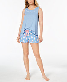 Jenni by Jennifer Moore Pajama Tank Top & Ruffle-Trim Boxer Shorts, Created for Macy's