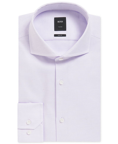 BOSS Men's Tailored Slim-Fit Mini-Checked Cotton Dress Shirt