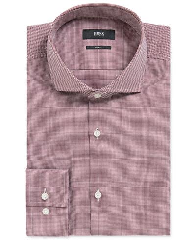BOSS Men's Slim-Fit Houndstooth Cotton Dress Shirt
