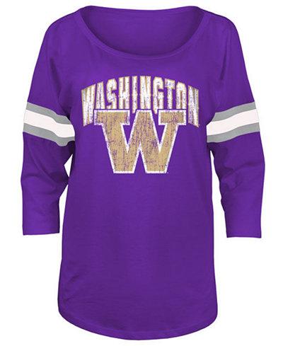 5th & Ocean Women's Washington Huskies Stripe Sleeve Sweeper Shirt