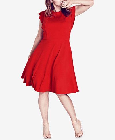City Chic Trendy Plus Size Ruffled-Shoulder A-Line Dress