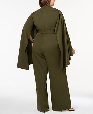 Monif C Trendy Plus Size Cape Sleeve Jumpsuit Pants Plus Sizes