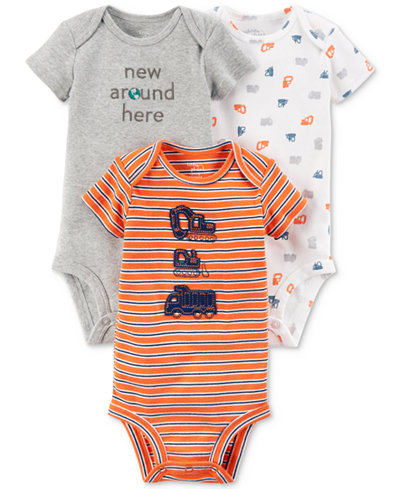 Carters Little Planet Organics 3-Pack Graphic-Print Cotton Bodysuits, Baby Boys