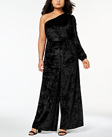 Monif C. Trendy Plus Size Velvet One-Shoulder Jumpsuit
