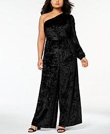 Monif C. Trendy Plus Size Velvet One-Shoulder Jumpsuit