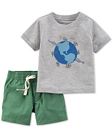 Carters Little Planet Organics  2-Pc. Graphic-Print Cotton T-Shirt & Shorts Set, Baby Boys