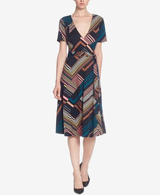 Catherine Catherine Malandrino Printed Midi Faux-Wrap Dress