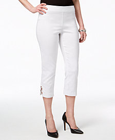 JM Collection Petite Embellished Lattice Capri Pants, Created for Macy's